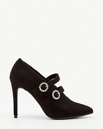 Jewel Embellished Faux Suede Shootie