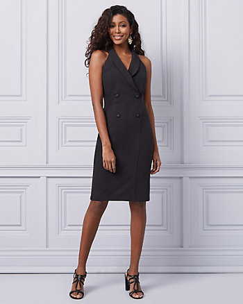 Twill Double Breasted Blazer Dress
