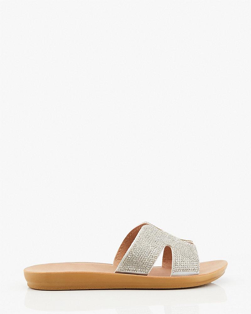 Jewel Embellished Cutout Slide Sandal by Le Chateau