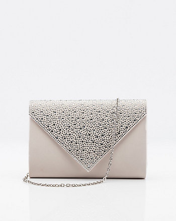 Jewel Embellished Satin Envelope Clutch 0d6598f88d5f