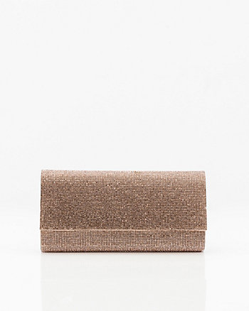 Gem Embellished Satin Flapover Clutch