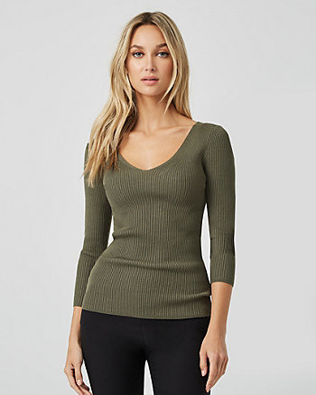 Viscose Blend Criss-Cross Back Sweater