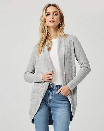 Viscose Blend Open Front Cocoon Cardigan