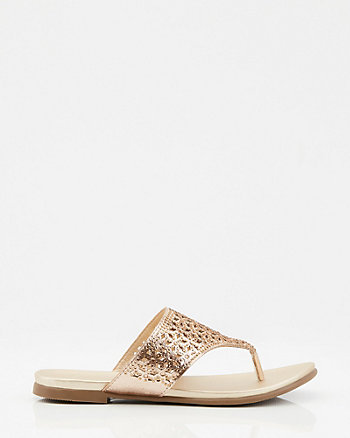 Jewel Embellished Metallic Cutout Sandal