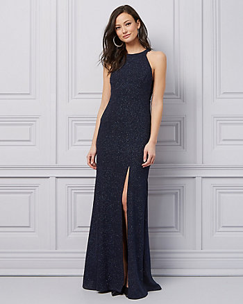 Sparkle Knit Halter Neck Gown