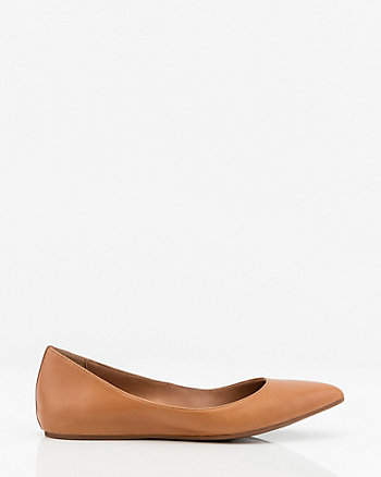 Leather Pointy Toe Ballerina Flat