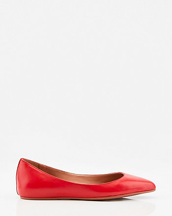 Leather Pointy Toe Ballerina Flat