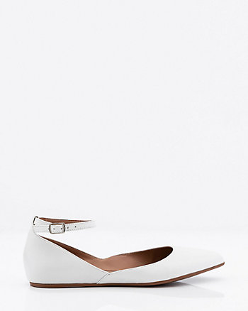 Leather Pointy Toe Ankle Strap Flat