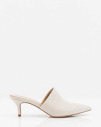 Italian-Made Leather Pointy Toe Mule