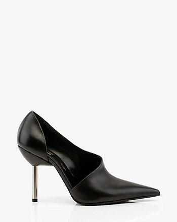 Italian-Made Leather Half d'Orsay Pump