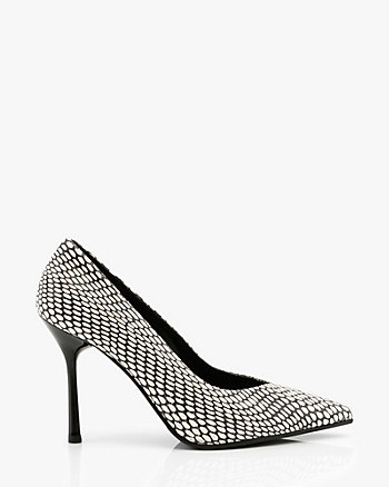 Italian-Made Snake Embossed Leather Pump