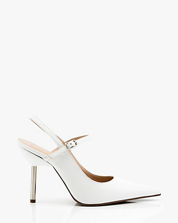 Italian-Made Leather Slingback Pin Heel Pump