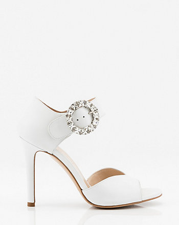 Italian-Made Leather Peep Toe Sandal