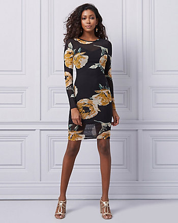 Floral Print Mesh Illusion Neckline Dress