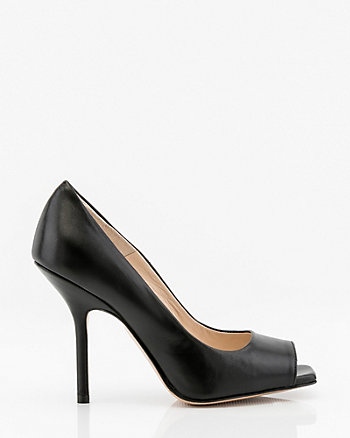 Italian-Made Leather Square Toe Pump