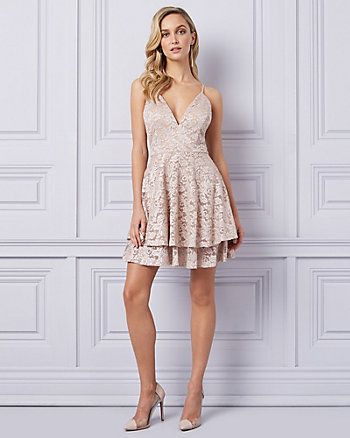 Lace V-Neck Racer Back Dress