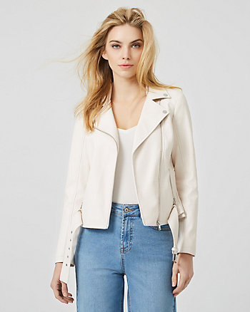 Croco Embossed Leather-Like Moto Jacket