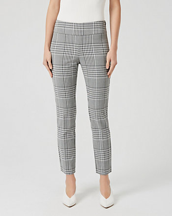 Check Print Viscose Blend Slim Leg Trouser