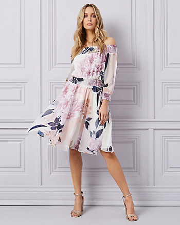 Floral Print Chiffon Off-the-Shoulder Dress