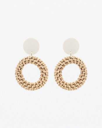 Straw & Wood Circular Drop Earrings