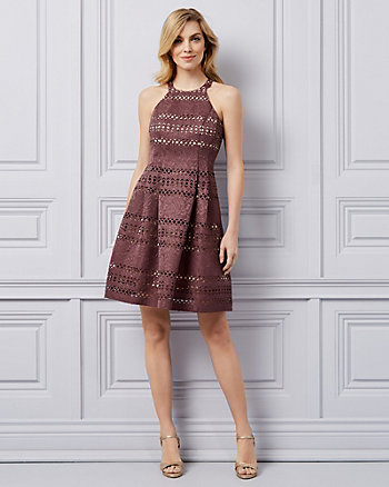 Laser Cut Jacquard Halter Dress