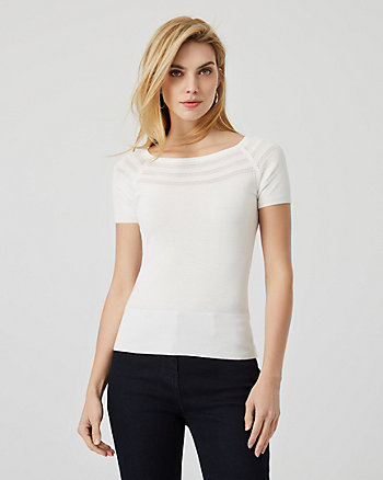 Pointelle Boat Neck Short Sleeve Sweater