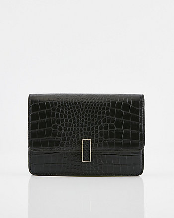 Croco Embossed Faux Leather Crossbody Bag