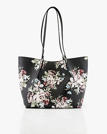 Floral Print Pebbled Leather-Like Tote