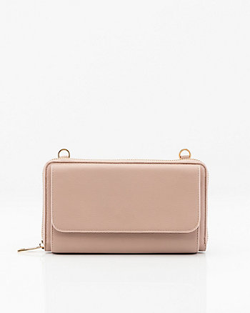 Leather-Like Crossbody Wallet