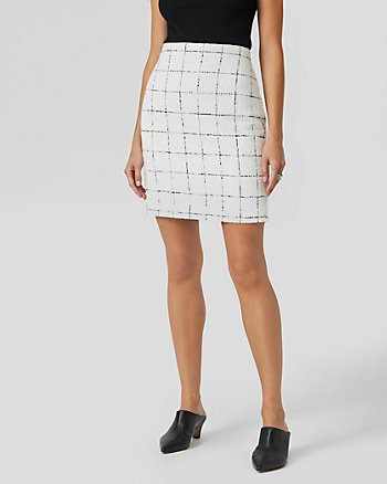 Windowpane Check Bouclé Mini Skirt