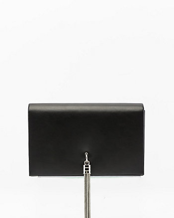 Leather-Like Flapover Tassel Clutch