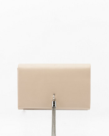 Faux Leather Flapover Tassel Clutch