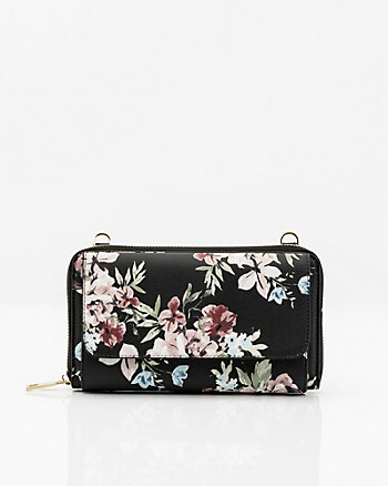 Floral Print Leather-Like Crossbody Wallet