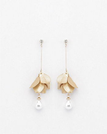 Floral & Pearl-Like Drop Earrings