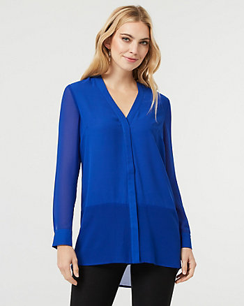 Button-Front Tunic Blouse