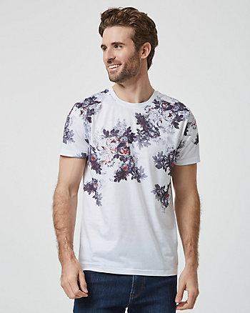 T-shirt à motif floral en tricot