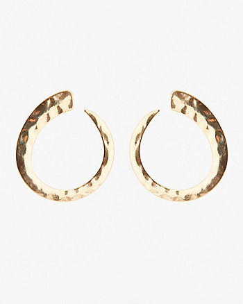 Hammered Metal Oval Hoop Earrings