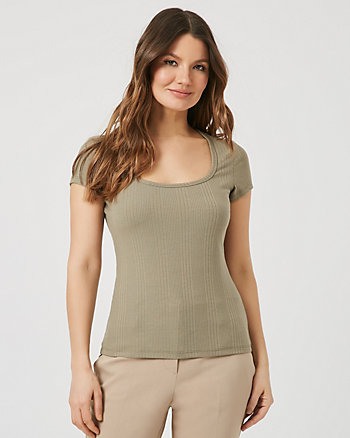 Rib Knit Scoop Neck T-Shirt