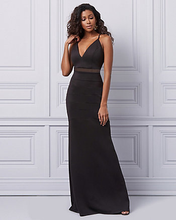 Ottoman Knit & Mesh V-Neck Gown