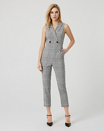 Glen Check Viscose Blend Wide Leg Jumpsuit