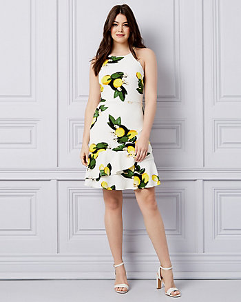 Lemon Print Textured Knit Ruffle Dress