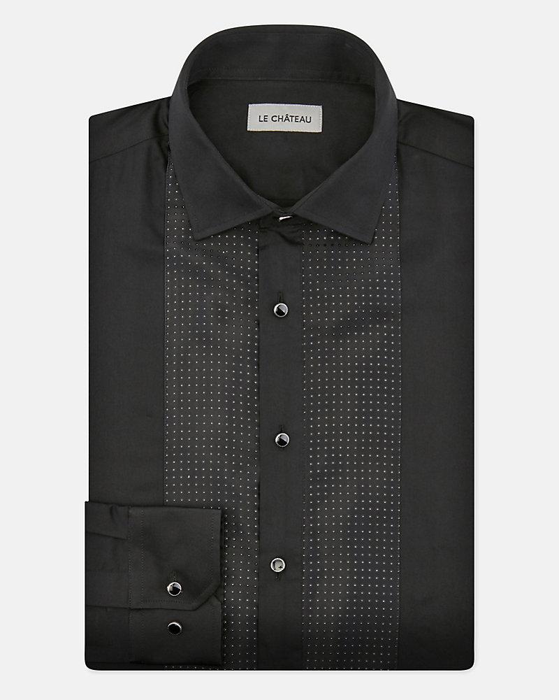 74971b8f97 LE CHÂTEAU: Cotton Tailored Fit Tuxedo Shirt