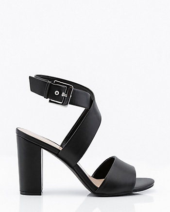 Criss-Cross Block Heel Sandal