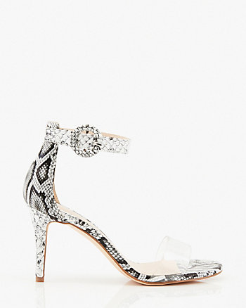 Snake Embossed Transparent Sandal