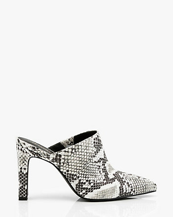 Snake Embossed Pointy Toe Mule