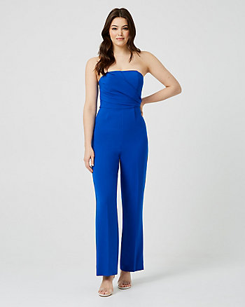 Viscose Blend Strapless Culotte Jumpsuit