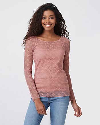 Lace & Knit Scoop Neck Top