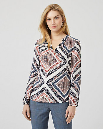 Scarf Print Split Neck Long Sleeve Blouse