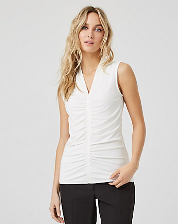 Ruched Knit Built-Up Sleeveless Top