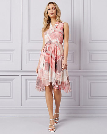 Check Print Chiffon High-Low Wrap Dress